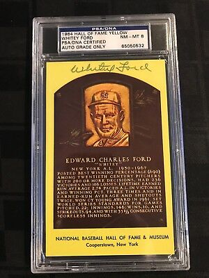 1964 HOF PLAQUE YELLOW Signed WHITEY FORD PSA/DNA CERTIFIED & GRADED PSA 8