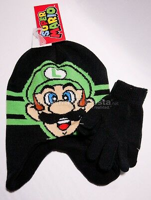 Childrens Boy Beanie Super Mario Luigi Gloves 2 Piece Set Nino Gorra Guantes