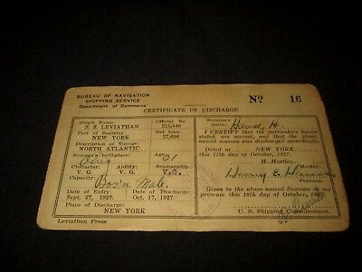 Ss Leviathan-October 17, 1927 Seaman Certificate Of Discharge