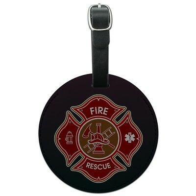 Firefighter Fire Rescue Maltese Cross Round Leather Luggage Card Carry-On ID Tag