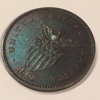 Philippines 1903 1 Centavo Copper Handled Proof Nice Key Example!