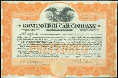 1920 Detroit, GOVE MOTOR CAR CO. $100 Stock Certificate, 1 Share, #287, Signed!