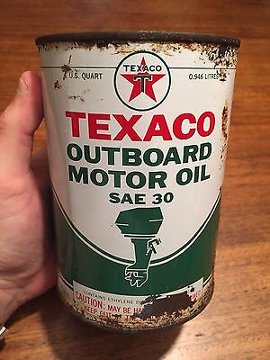 Vintage 1 QT Texaco Outboard Motor Oil SAE 30 Boating Can - Empty