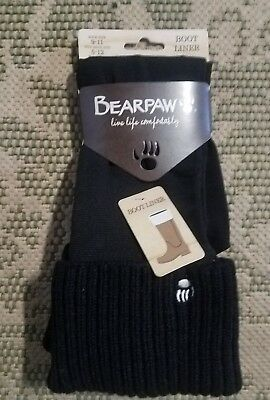 NWT Bearpaw Women black boot liner sock size 9 to 11 retail $35