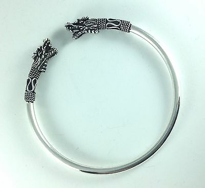 Men's Artisan Dragon Head Sterling Silver 925 Bangle Open Cuff Jewelry Bracelet