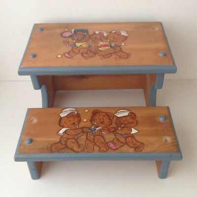 Vintage Antique Hand Painted Wooden Child's Step Stool Teddy Bears Two Step