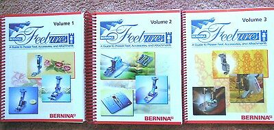 3 NEW Bernina FEETURES Books & Guide to Pressor Feet, Accessories & Attachments