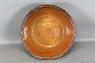 Late 18Th C Pennsylvania Wheel Thrown Redware Deep Dish In Great Color Condition