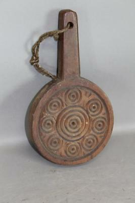 A Rare 18Th C Pennsylvania Circle Carved Lollipop Style Butter Stamp In Cherry