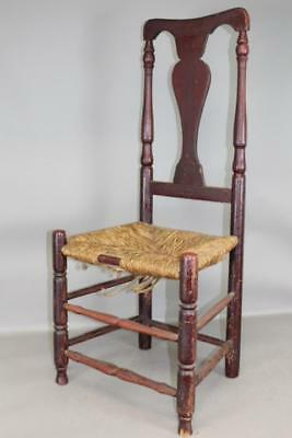 Rare 18Th C Connecticut Shoreline Queen Anne Side Chair In Original Red Paint