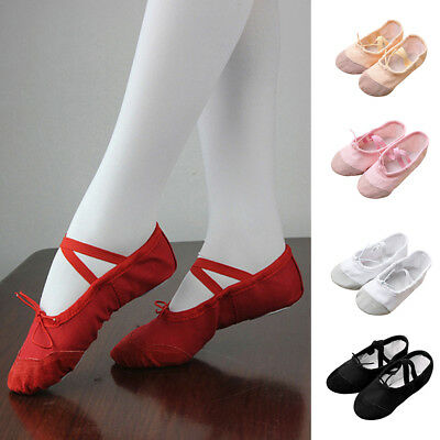 Baby Children Solid Canvas Ballet Pointe Dance Shoes Fitness Gymnastics Slippers