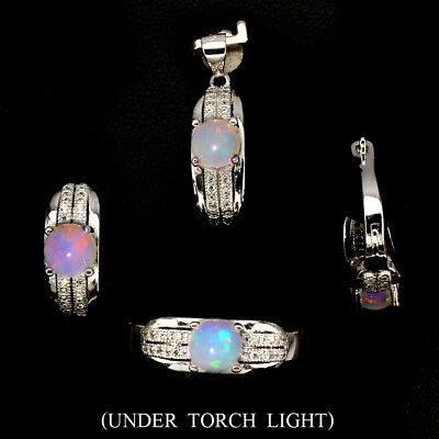 Amazing Natural Round 6mm Hot Rainbow Fire Opal W Cz 925 Sterling Silver Sets