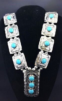 Silver and Turquoise Navajo Squash Blossom Necklace Native American Signed *G61