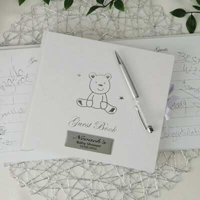 Baby Shower Teddy Guest Book Gift - Add a Name & Message