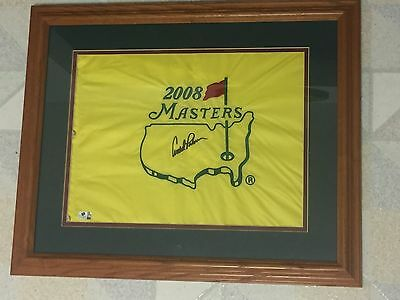 Arnold Palmer Auto Signed Framed Matted 2008 Official Masters Golf Pin Flag Coa