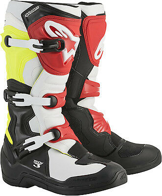 Alpinestars Tech 3 Boots Black/White/Yellow/Red MX Off-road All Sizes