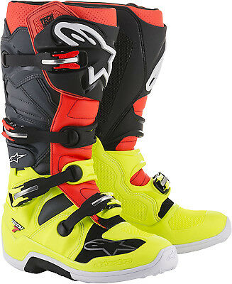 Alpinestars Tech 7 Boots Yellow Flou/Red Flou/Gray/Black MX Off-road All Sizes
