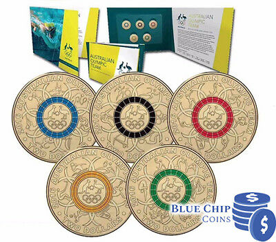 2016 Unc $2 Australian Olympic Team Coloured 5 Coin Collection Set