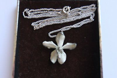 Selangor Pewter Signed Orchid Flower Necklace .Price dropped