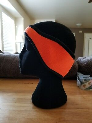Cabelas Ear Warmer Cover Muff Fleece Orange Stretchy Black Hunting Running Ski