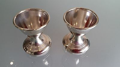 2 ART DECO EGG CUPS, ENGLISH MADE, QUALITY PLATEDWARE, (c1930s) NICE CONDITION.