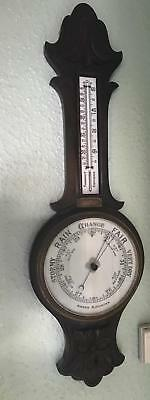 Antique British Carved Oak Aneroid Banjo Barometer & Thermometer