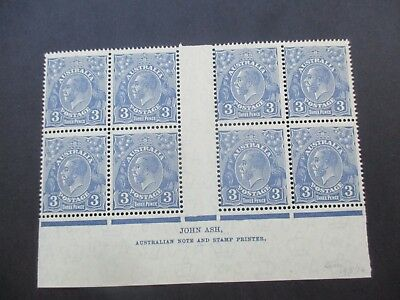 KGV Stamps: 3d Blue Block of 8 Imprint C of A Watermark MNH  (A96)