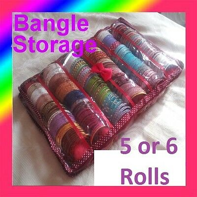 💥 Bangle Box Maroon Colour 5 or 6 Roll  Holder Storage Red Burgundy Indian UK✔✂