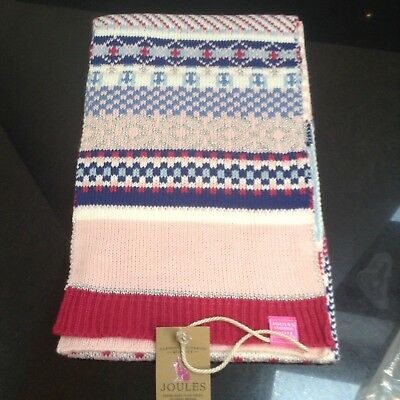 Joules Girls Pink/blues Fairisle Scarf. New With Tag
