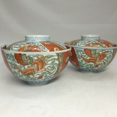 A377: Japanese OLD IMARI porcelain pair of covered bowl with phoenix painting