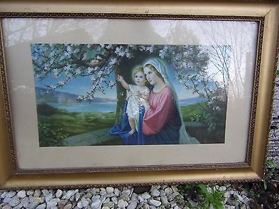 """Nice Vintage French framed Picture MADONNA AND CHILD MARY JESUS  21 x 14"""" VGC"""