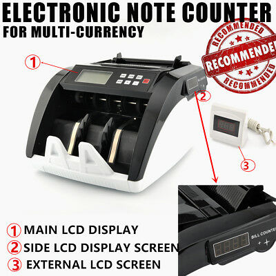 Money Counter UV Counterfeit Detection with 3 LCD Display Bank Retail Australia