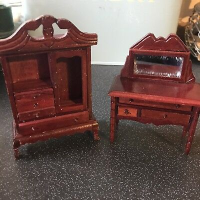 Doll House Furniture Dressing Table And Wardrobe