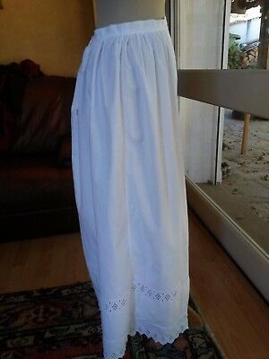 ANCIEN JUPON LONG Coton brodé T.40 Old embroidered cotton Petticoat underskirt M