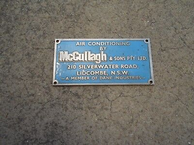 Vintage Air Cond. Sign McCullagh from the Ghan or Indian Pacific Train Part