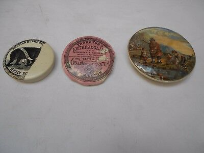 3 Pot Lids A/F Bears Grease Prattware Good in a Display of Ginger Beers, Codds
