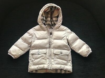 Burberry Baby Girls Designer Luxury Quilted Padded Coat 18 Months Stunning