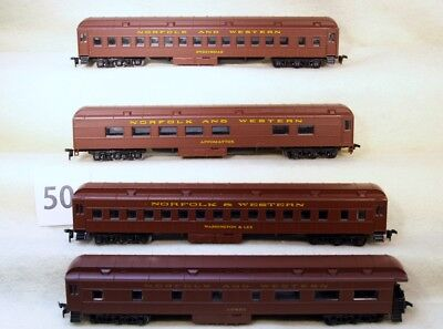 Set Of Four Athearn Ho Norfolk And Western Heavyweight Passenger Cars-No Reserve