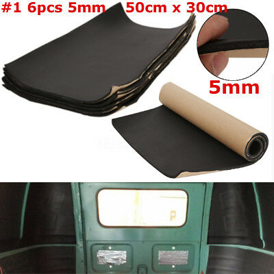 6 Sheet 5mm Rubber Self Adhesive Closed Cell Foam Car Sound Insulation Deadening