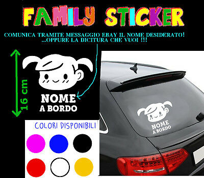Sticker Stickers Adesivo Bebe' Baby A Bordo Bimba On Board Bambino Auto Macchina