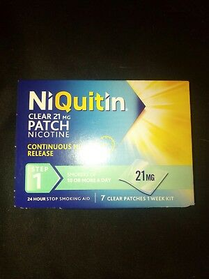 NiQuitin patches  step 1 ,21 mg 7 clear patches 1 weekv supply. Rrp,£ 22.98