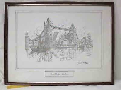 Tower Bridge, London Pencil Drawing by  David Hawker Thames hospice 114 R1