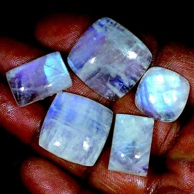~Bulk Lot~ Natural RAINBOW MOONSTONE Cabochon Untreated Gemstone 126.00 Cts