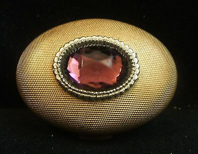 Vintage Gold Tone and Faux Amethyst Powder Compact