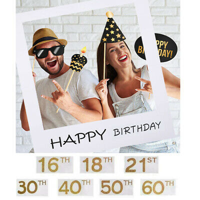 30/40/50th Frame Photo Booth Props Happy Birthday Paper Party Supply Accessory