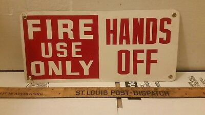 """Nice Legit METAL Vintage Workplace Sign """"Fire Use Only Hands Off"""" 14""""×6.5"""" Red"""