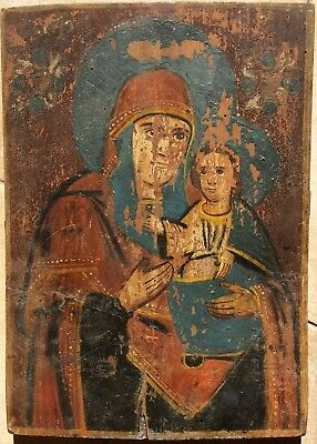 VIRGIN MARY - ANTIQUE OLD RUSSIAN HAND PAINTED WOODEN ICON, BIG, 385mm x 275mm