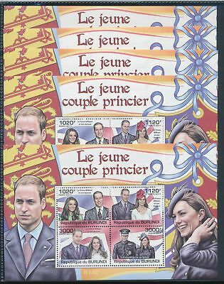 BB1-1776 Burundi 2011 William & Kate 5 sheets MNH