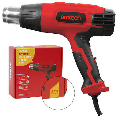 Amtech 2000W Hot Air Gun With 4 Heat Nozzles V6035 2 Year Warranty