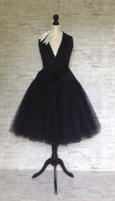 Posh halloween ball party dress up costume black witch tulle net midi skirt.